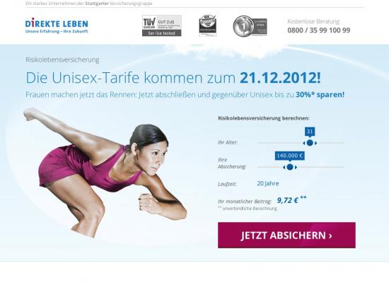 SEM Landingpage der DIREKTE LEBEN Versicherung AG