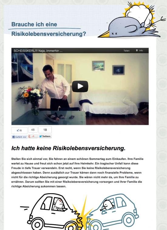 SEO Landingpage von www.risikolebensversicherungen.com