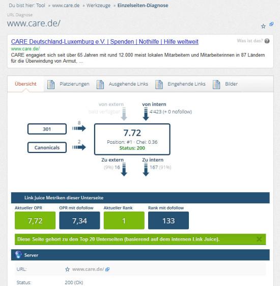 Einzelseitendiagnose mit onpage.org