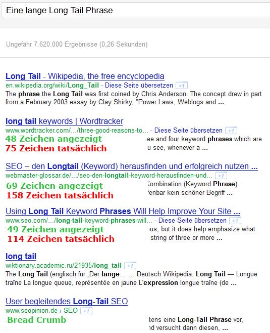 URL Länge in Snippets