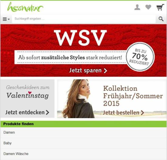 Screenshot der mobilem Version von hessnatur