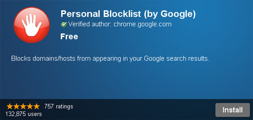 personal blocklist by google