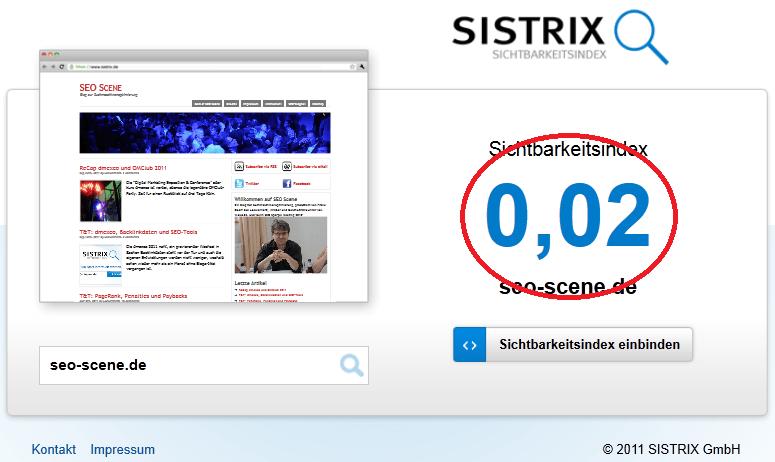 Sistrix Sichtbarkeit der Domain seo-scene.de laut Sichtbarkeitsinde.de